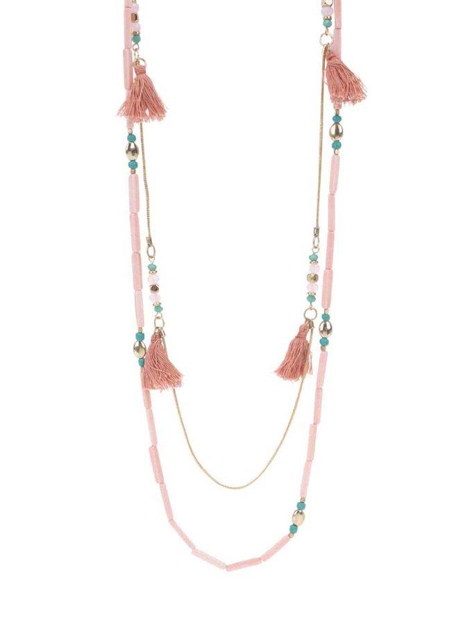 Růžový korálkový náhrdelník Pieces Becca