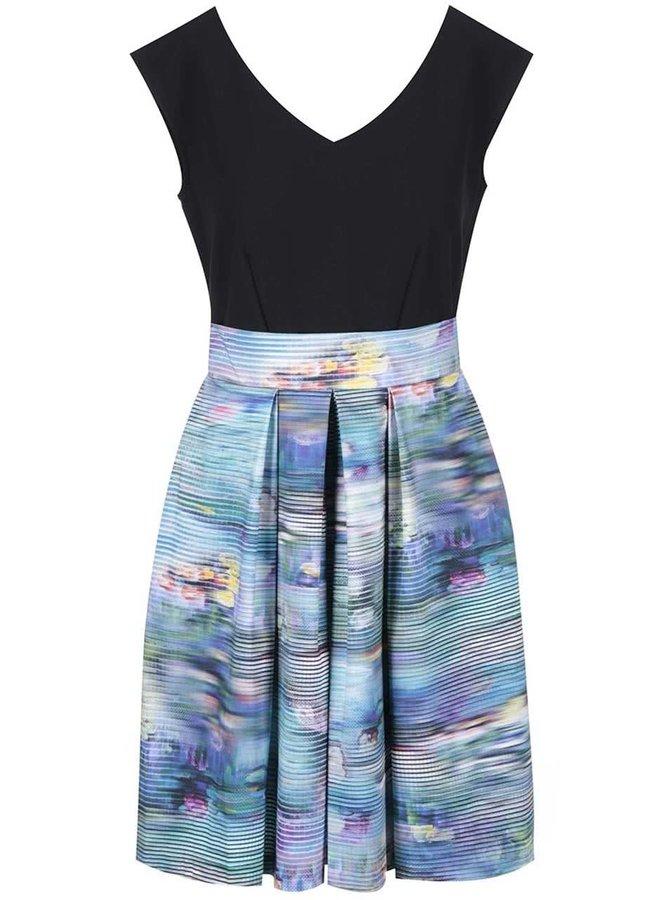 Rochie Closet neagră, cu fustă multicoloră