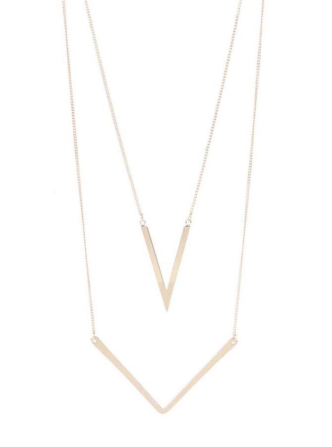 Trojúhelníkový náhrdelník ve zlaté barvě Pieces Buma