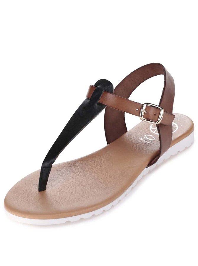 Černo-hnědé kožené sandály OJJU