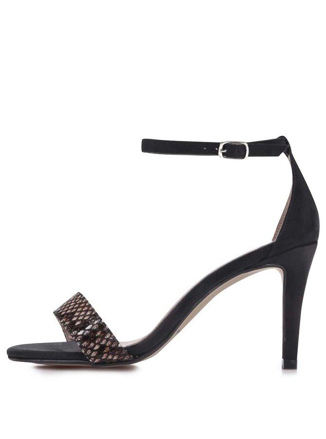 Béžovo-čierne vzorované sandálky na podpätku OJJU