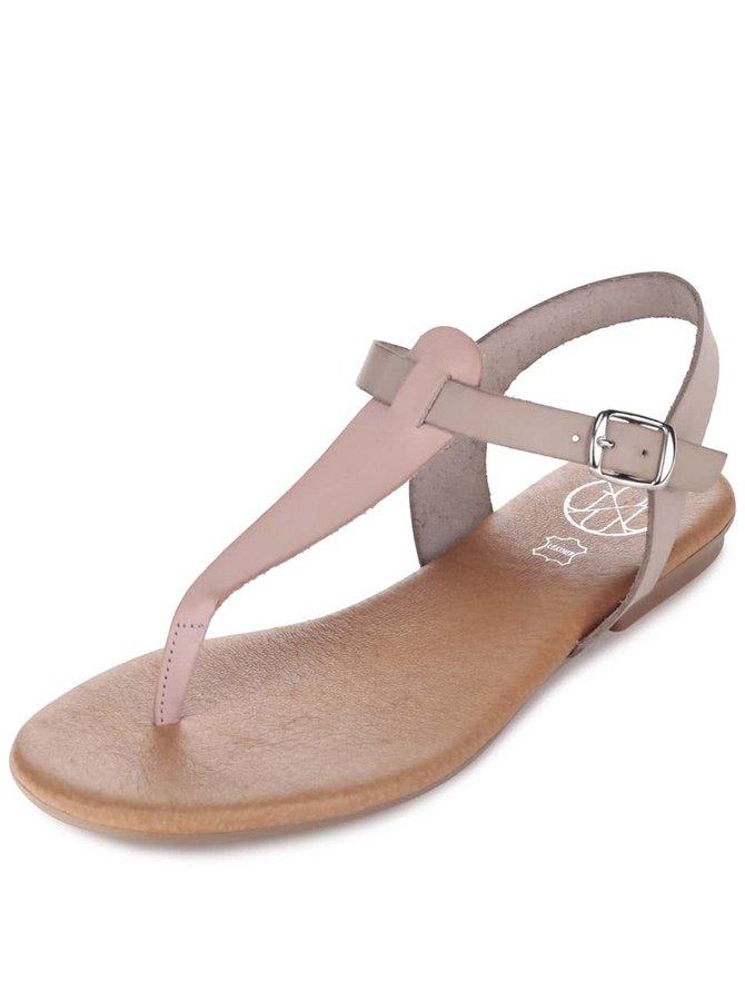 Ružovo-sivé kožené sandálky OJJU