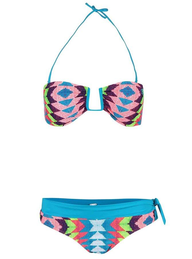 Fialovo-tyrkysové dvojdielne vzorované plavky Rip Curl Phoenix