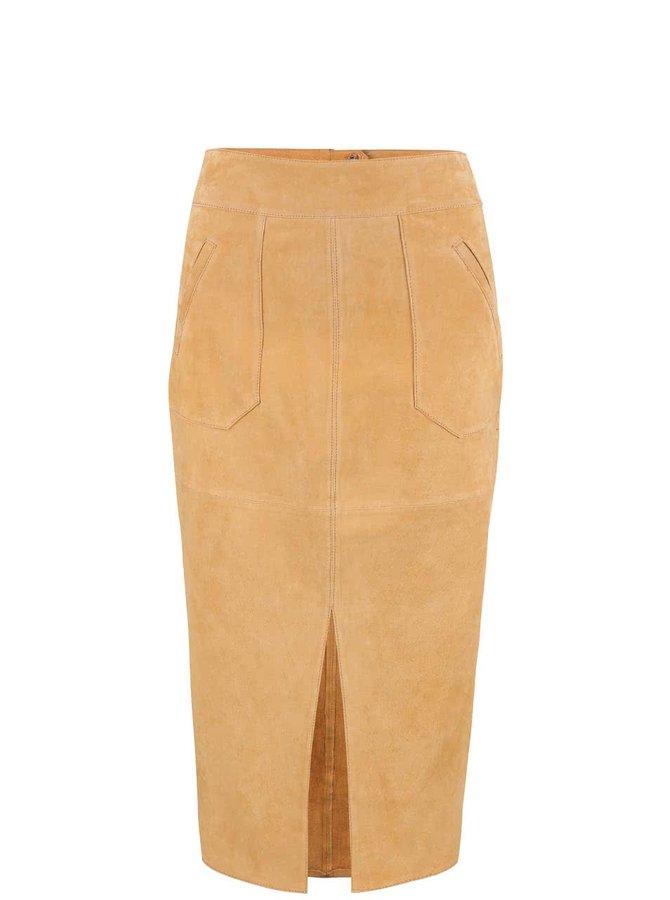 Béžová semišová midi sukně s rozparkem Dorothy Perkins