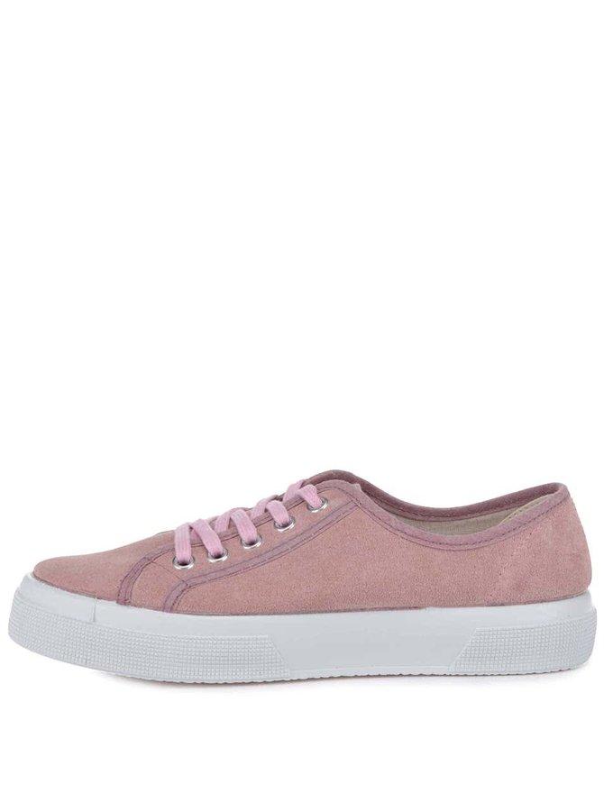 Růžové kožené dámské tenisky OJJU Ibiza