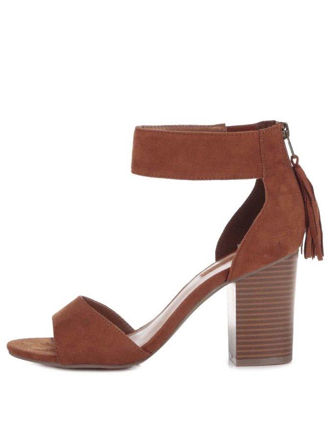 Hnedé sandálky v semišovej úprave so strapcami na podpätku Dorothy Perkins