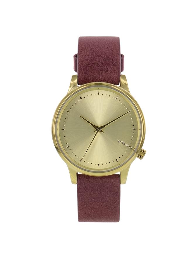 Červenohnedé kožené dámske hodinky Komono Estelle Lotus