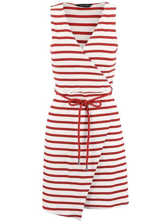 """Červeno-krémové pruhované šaty s výstřihem do """"V"""" Dorothy Perkins"""
