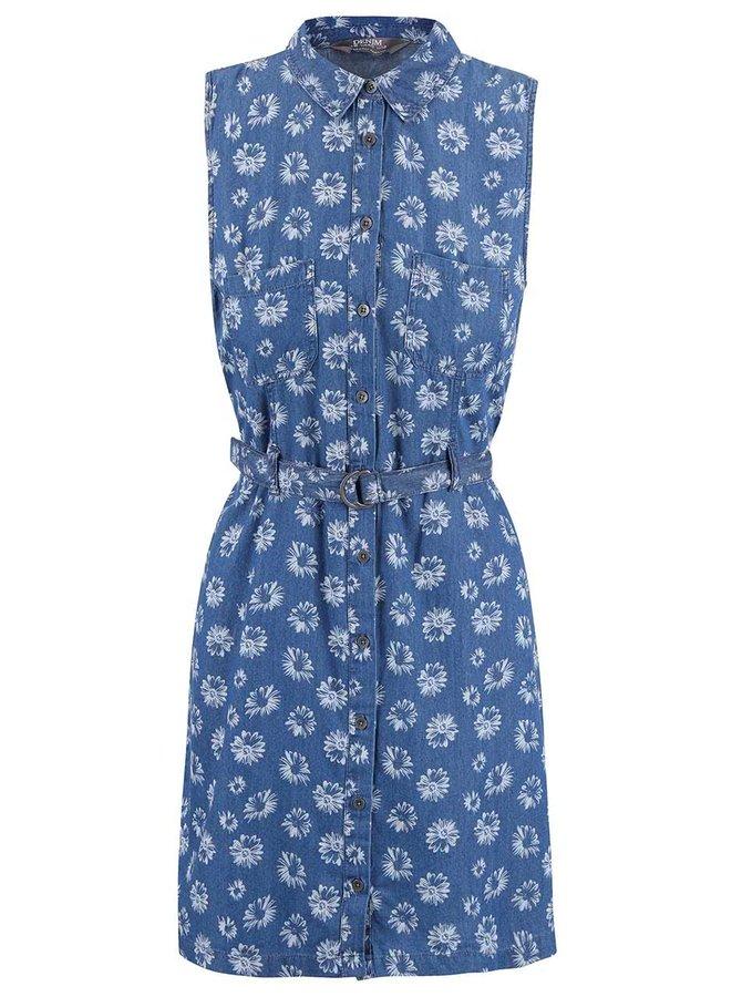 Modré rifľové šaty s margarétkami Dorothy Perkins