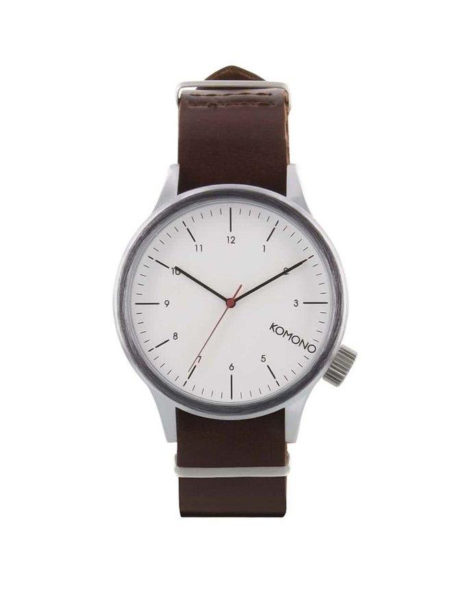 Hnedé pánske hodinky s koženým remienkom Komono Magnus