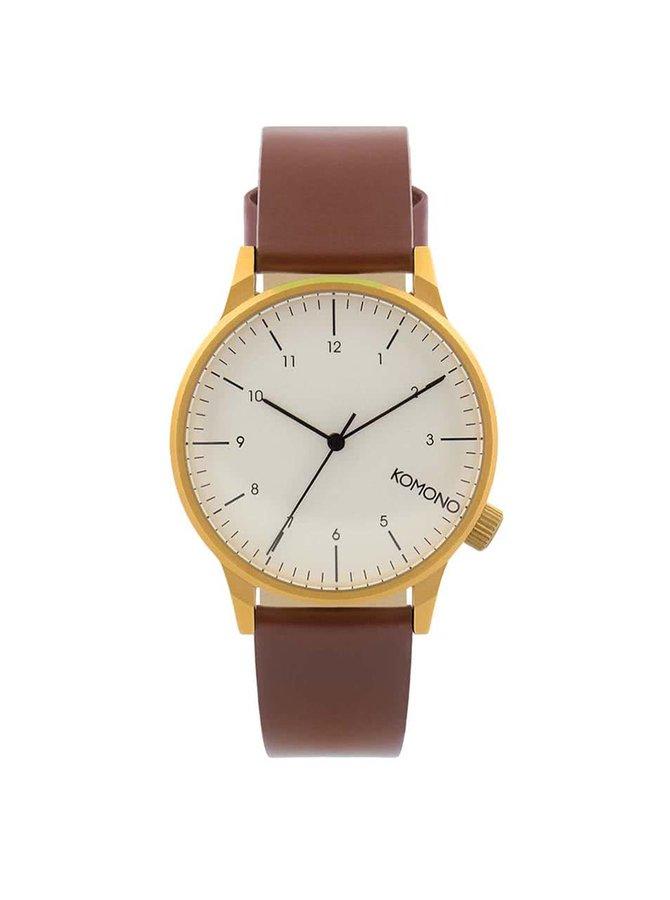 Pánske hodinky v zlatej farbe s hnedým koženým remienkom Komono Winston Regal