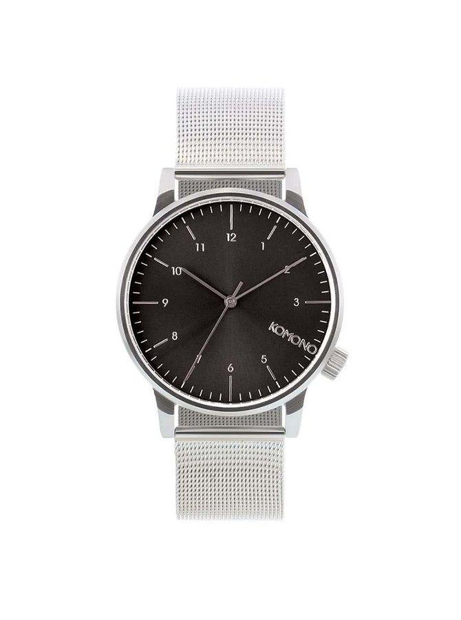 Pánske hodinky v striebornej farbe s čiernym ciferníkom Komono Winston Royale