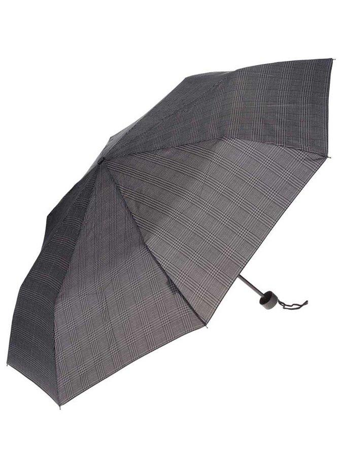 Černo-šedý pánský vzorovaný skládací deštník Derby