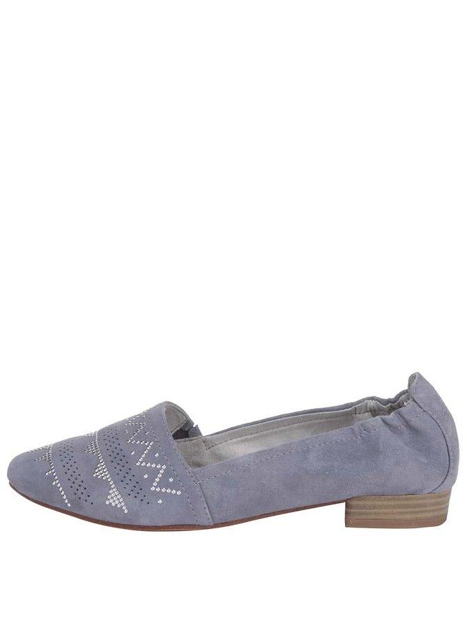 Modrošedé vzorované loafers Tamaris