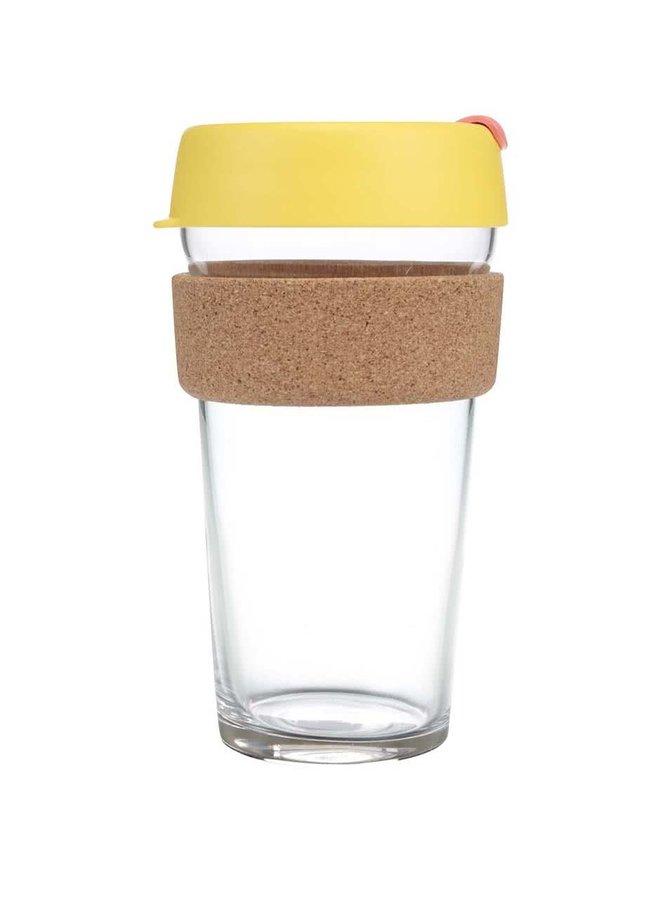 Dizajnový cestovný sklený hrnček KeepCup Brew Saffron Cork Large