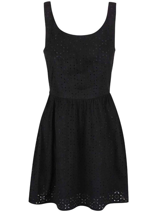 Čierne šaty s perforovaným vzorom ONLY Lola
