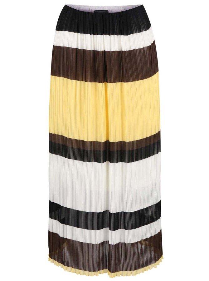 Hnědo-bílo-žlutá plisovaná midisukně Dorothy Perkins