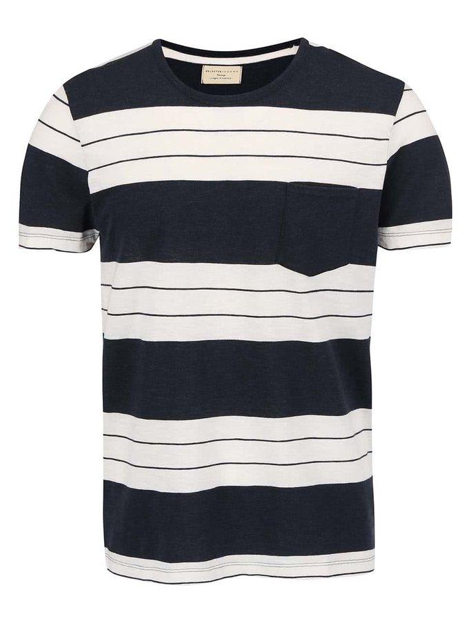 Krémovo-modré tričko s pruhmi Selected Homme Marl