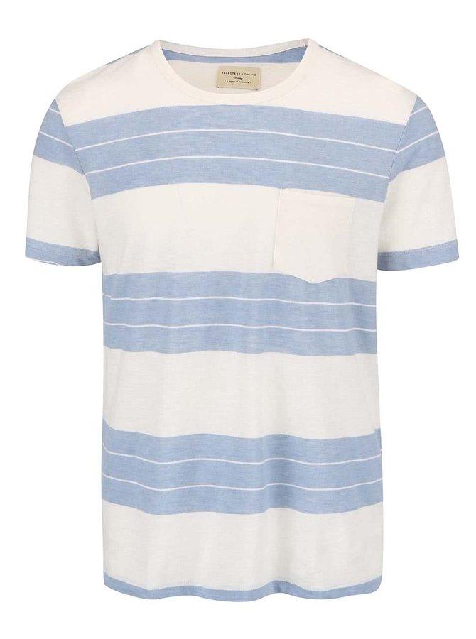 Krémové tričko so svetlomodrými pruhmi Selected Homme Marl