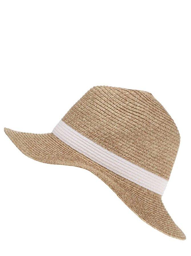 Slamený klobúk s bielou stuhou Vero Moda Sofie