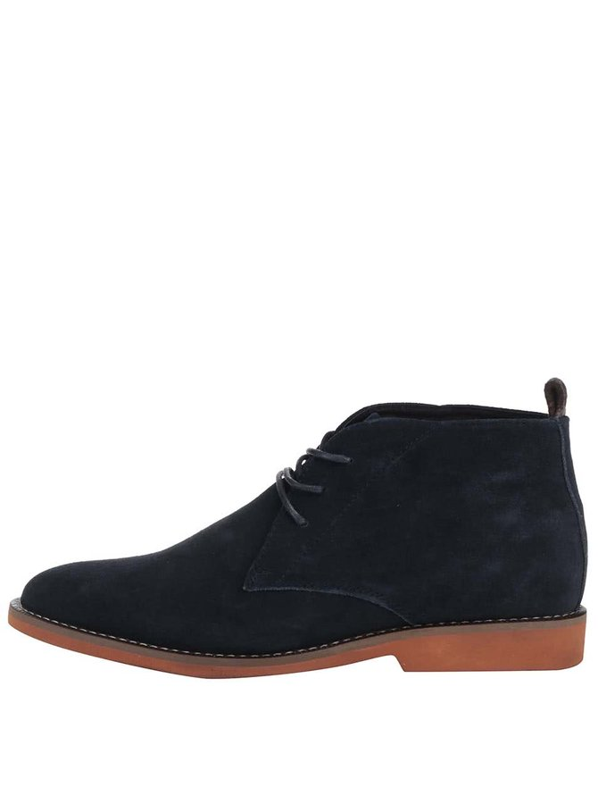Tmavomodré kožené členkové topánky Dice Payton