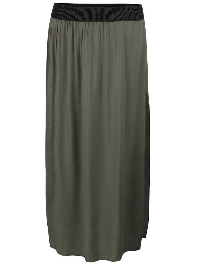 Zelenosivá dlhá sukňa s rozparkom Vero Moda Super Easy
