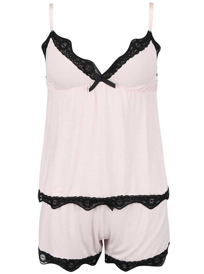 Ružové pyžamo s čiernou čipkou ICÔNE Sienna