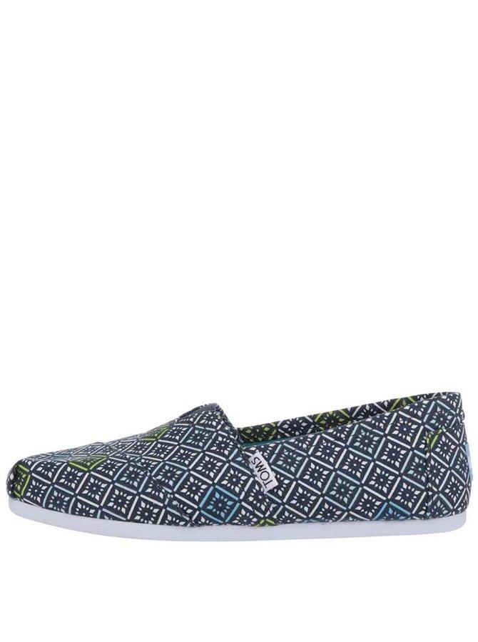 Modré dámské vzorované loafers TOMS Classic