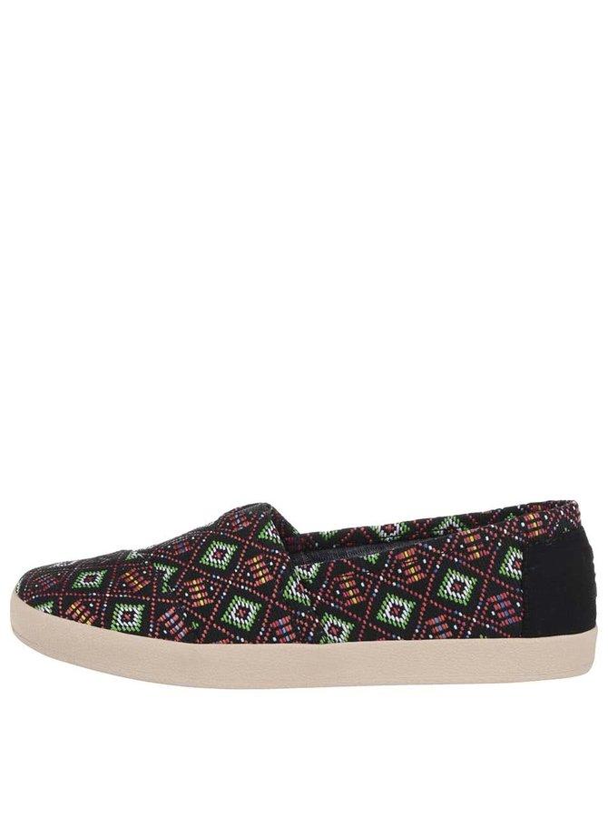 Čierne dámske loafers s farebným vzorovaním TOMS Avalon