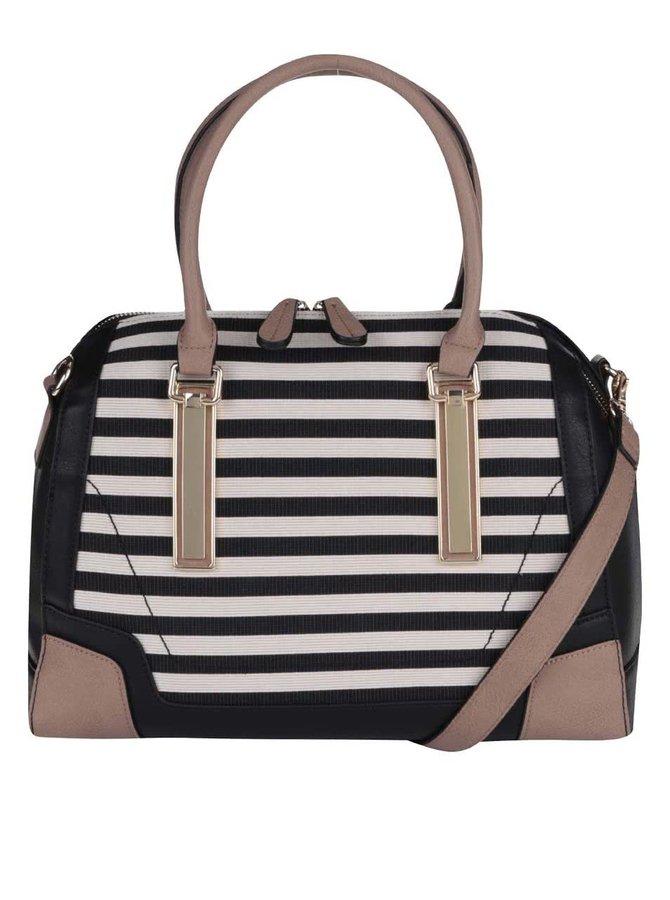 Čierno-krémová pruhovaná kabelka ALDO Bogard