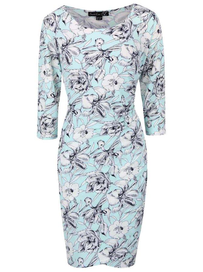 Mentolové kvetinové šaty s 3/4 rukávom Smashed Lemon