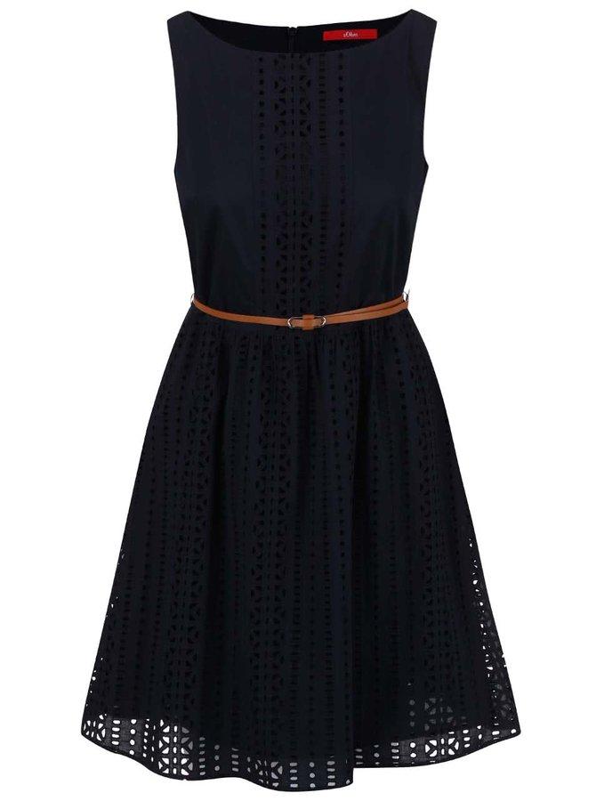 Tmavomodré perforované šaty s opaskom s.Oliver