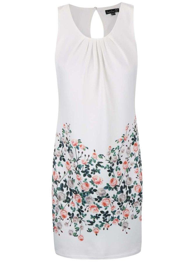 Bílé šaty se vzorem růží Smashed Lemon
