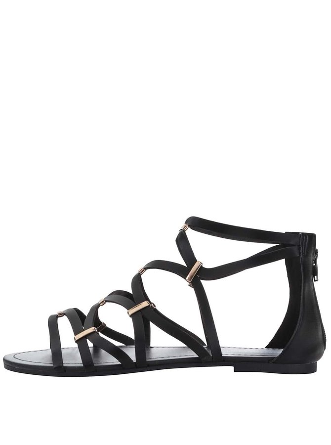 Sandale Dorothy Perkins negre, cu detalii aurii