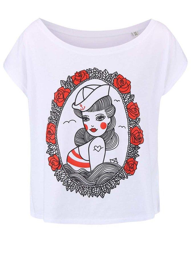 Biele dámske voľnejšie tričko ZOOT Originál Pin Up