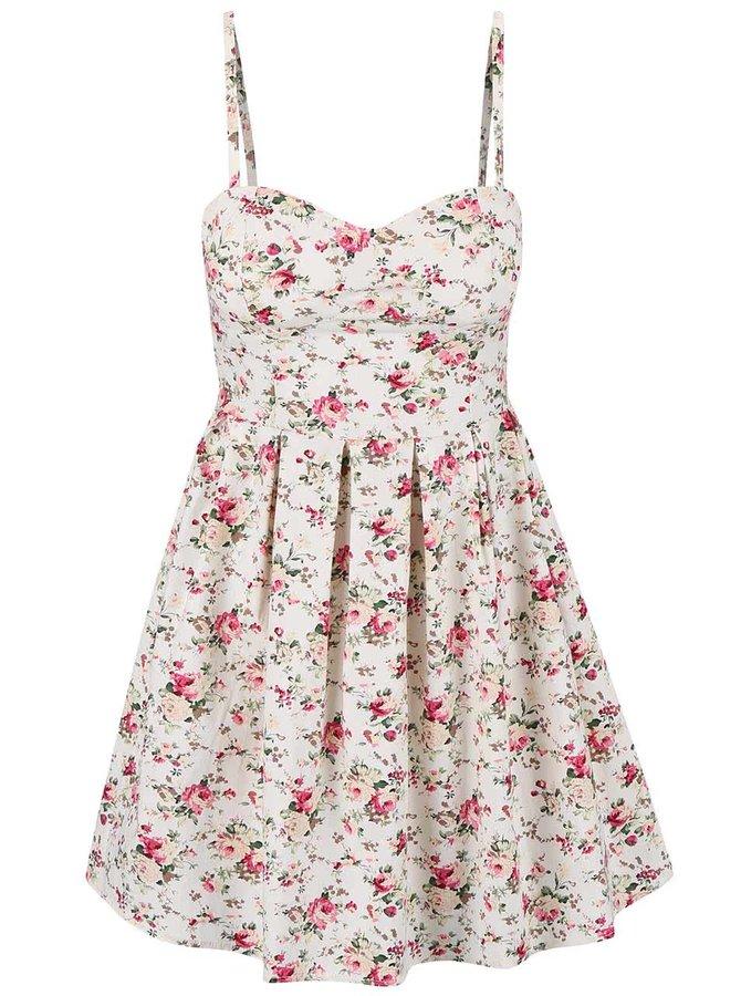 Krémové květované šaty s odepínatelnými ramínky Apricot