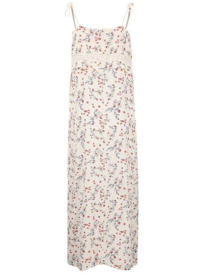 Svetložlté dlhé kvetované šaty VILA Annie