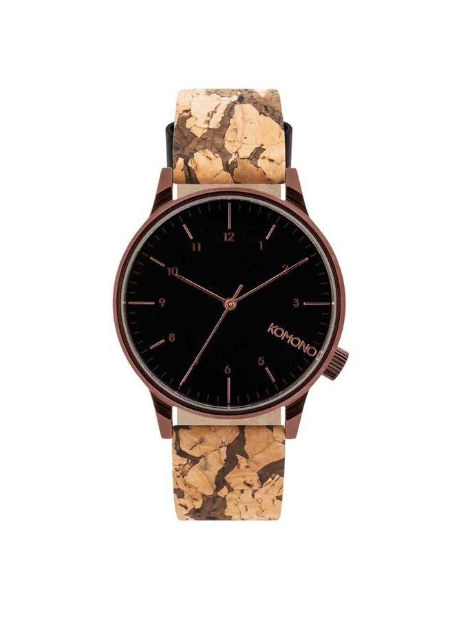 Čierne pánske hodinky s hnedým koženým remienkom Komono Winston