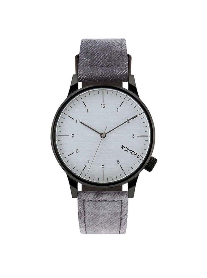 Černé pánské hodinky s denimovým páskem Komono Winston Heritage