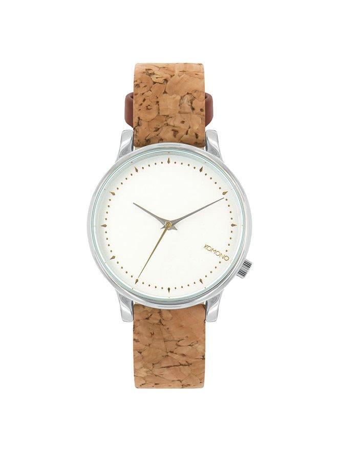 Biele dámske hodinky s hnedým koženým remienkom Komono Estelle