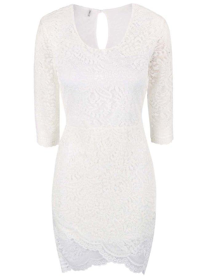 Krémové čipkované šaty ONLY Sierra