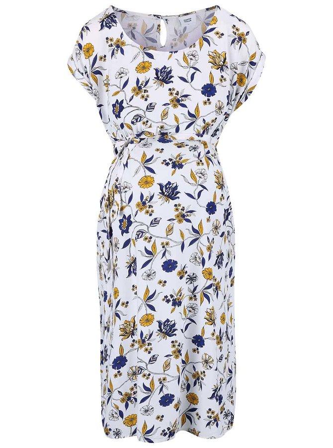 Krémové kvetované tehotenské šaty Mama.licious Zoe