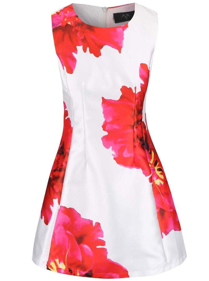Biele šaty s veľkými červenými kvetmi AX Paris