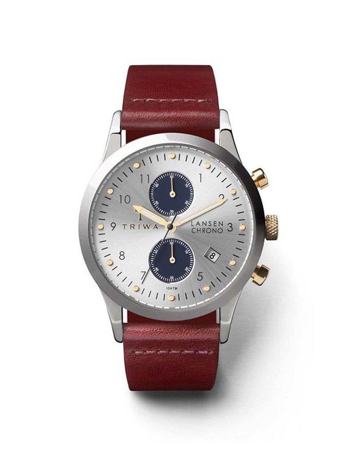 Hnědé unisex kožené hodinky s ciferníkem ve stříbrné barvě TRIWA Loch Lansen Chrono