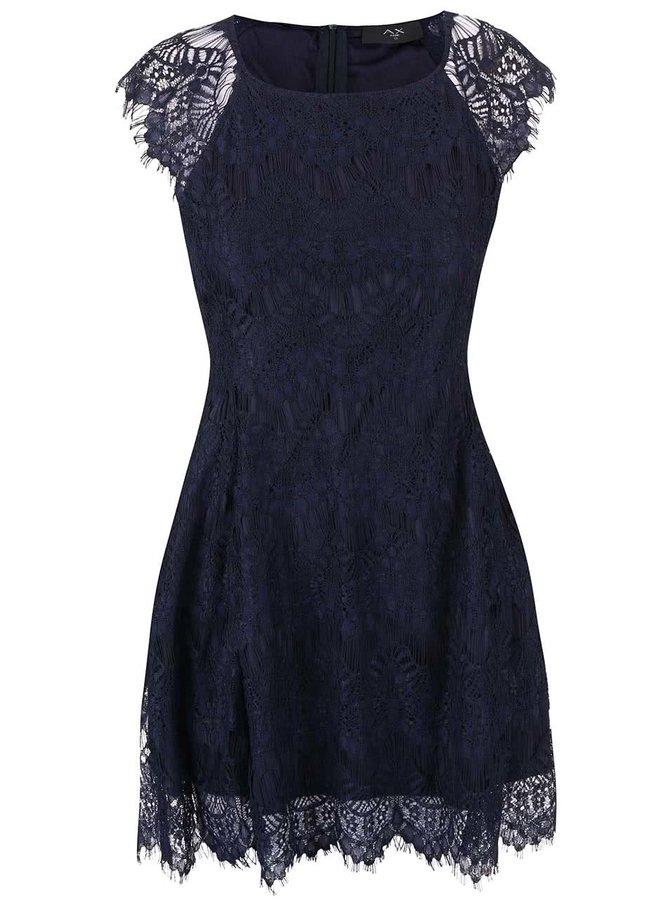 Tmavě modré krajkové šaty AX Paris