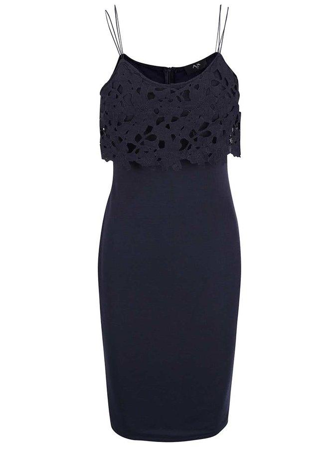 Tmavě modré šaty s perforovaným topem AX Paris