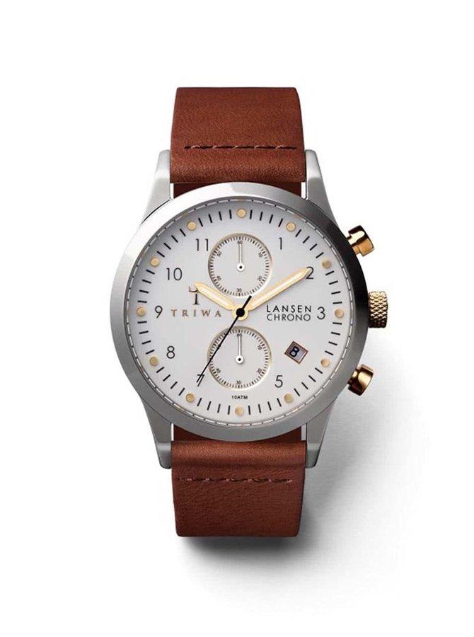 Hnedé unisex kožené hodinky TRIWA Lansen Chrono