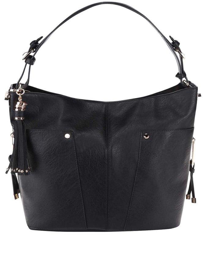 Čierna kabelka do ruky s detailmi v zlatej farbe Dune London Dacey