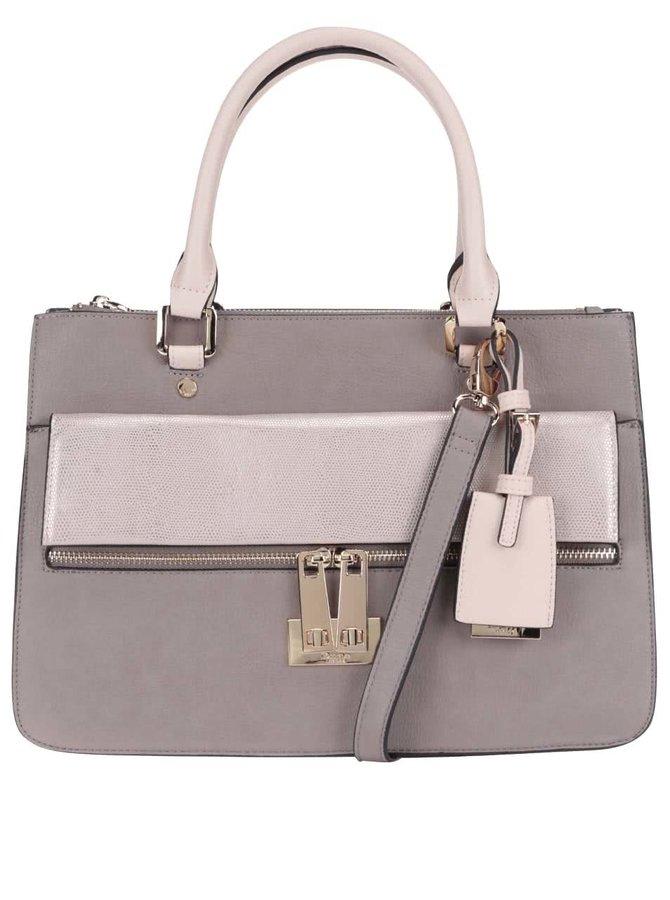Šedobéžová kabelka se zipem a detaily v barvě tělové Dune London Dizele