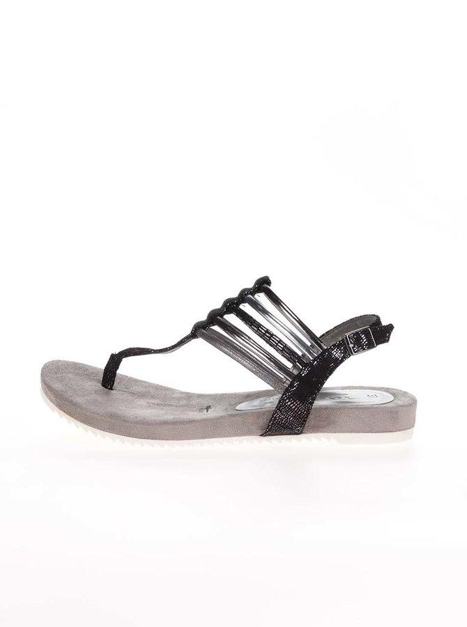 Sivo-čierne sandále so strieborným remienkom Tamaris